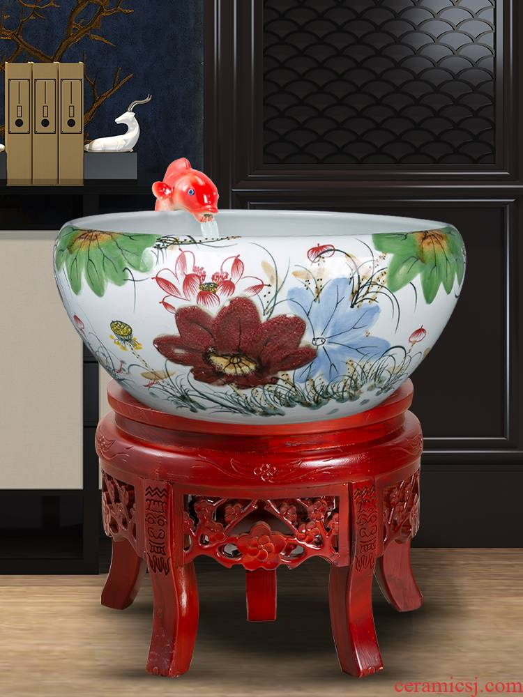 Jingdezhen ceramic filtering landing fountain waterscape humidifier goldfish bowl decorated living room office furnishing articles