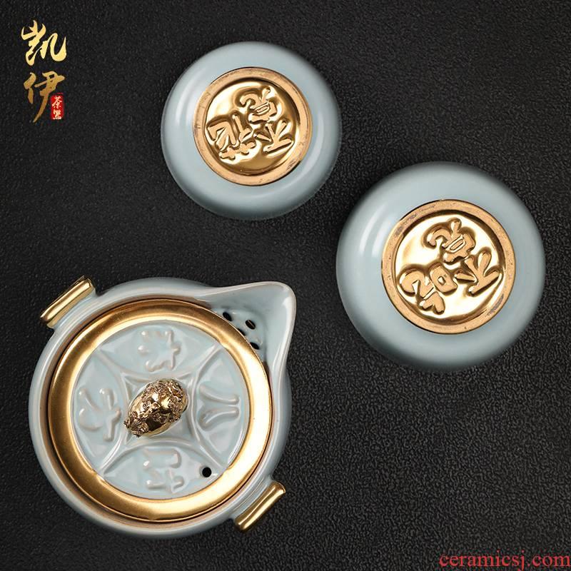Your up gold eat all crack cup golden cup travel tea set jingdezhen ceramic gold glass teapot
