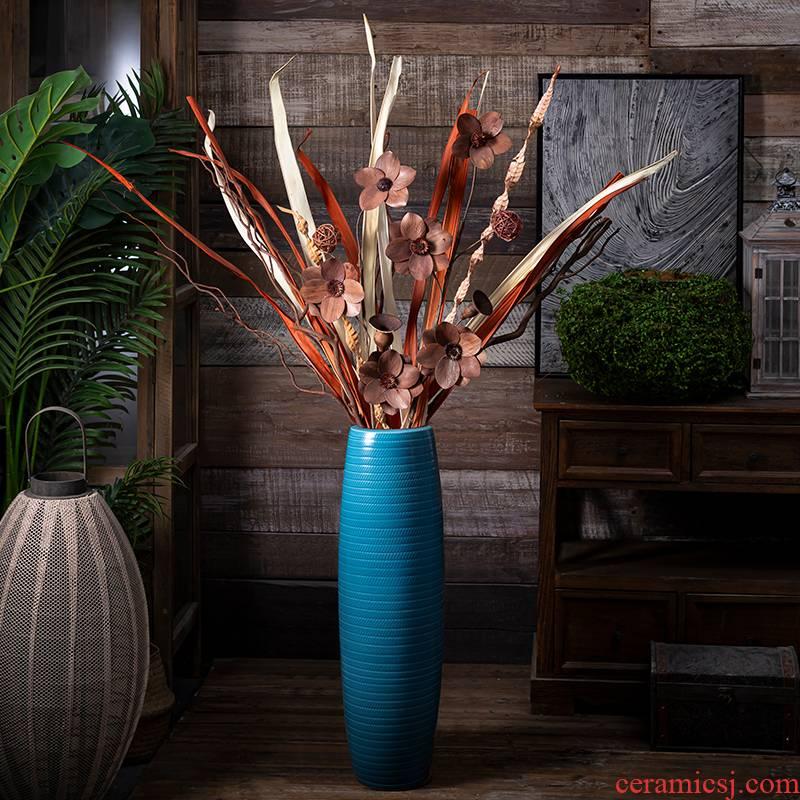 Jingdezhen modern European contracted decorate ceramic vase landing big sitting room, the dried flower arranging place blue