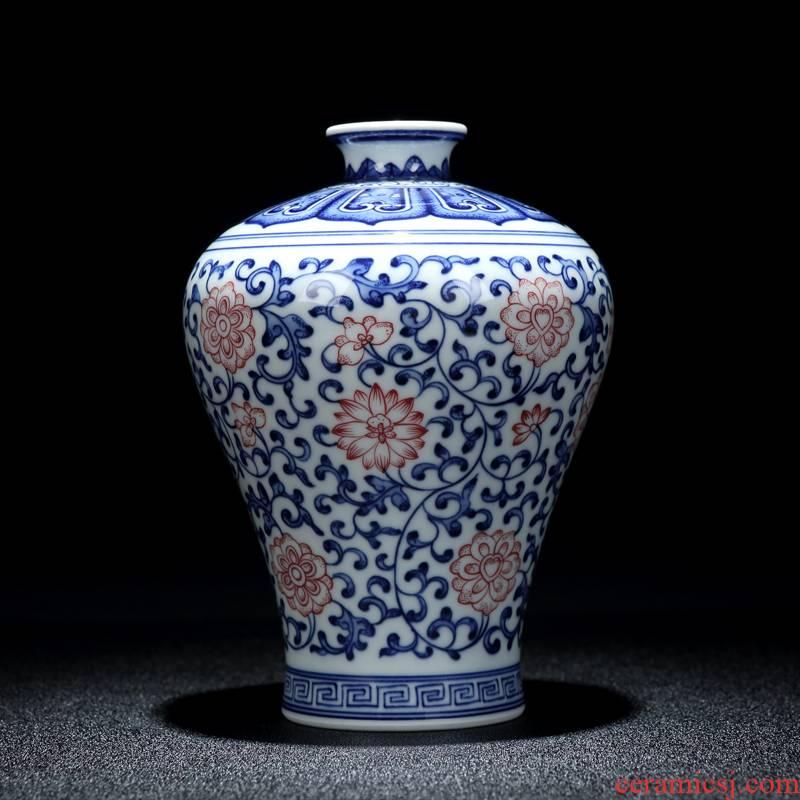 Jingdezhen vase furnishing articles sitting room light key-2 luxury vase decoration flower arranging bottles large blue and white antique wood vases