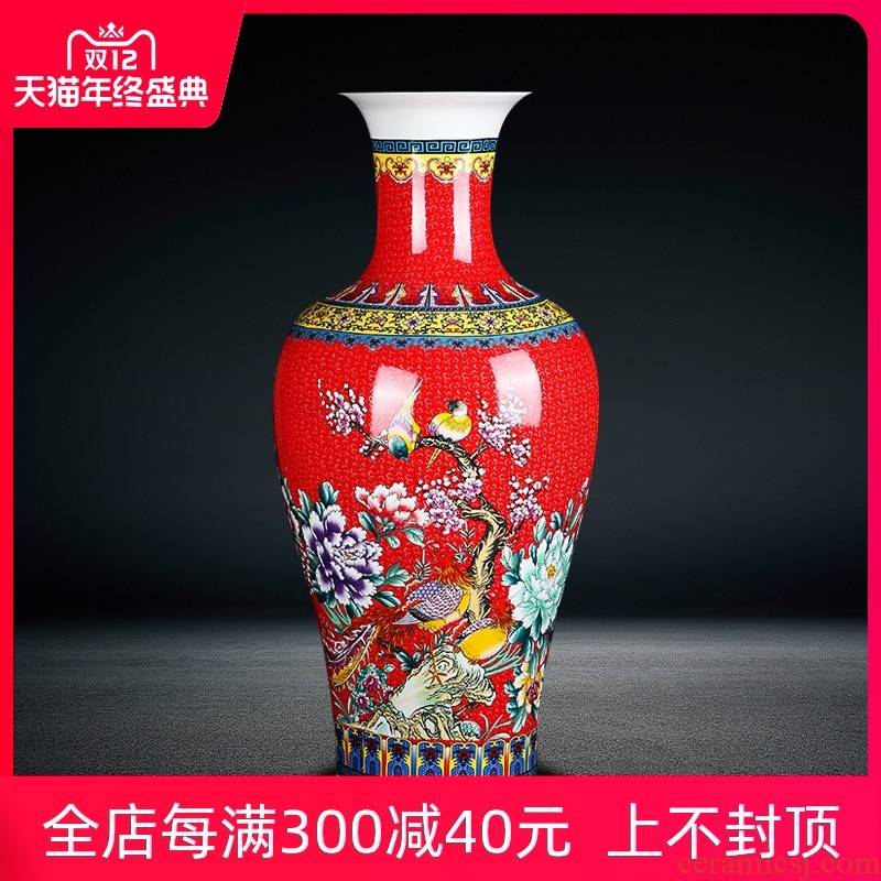 Porcelain of jingdezhen ceramics landing a large vase, Kim, green, red colored enamel sitting room of Chinese style household furnishing articles