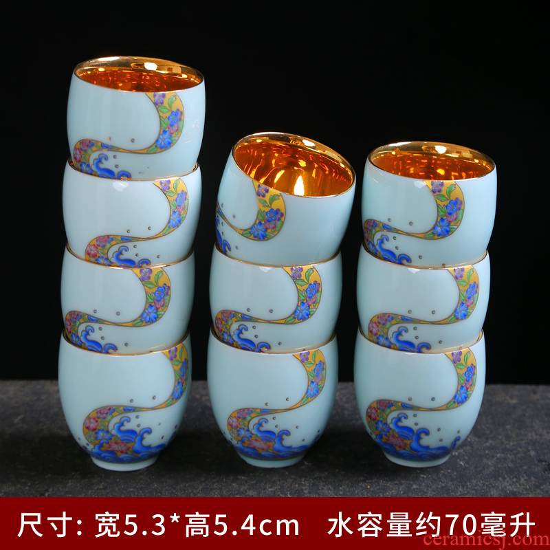 Longquan celadon porcelain kung fu small ceramic cups of tea light bowl with a single sample tea cup masters cup blue and white porcelain tea