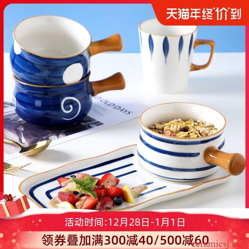 Jingdezhen ceramic household individuality creative dishes suit children oatmeal for breakfast bowl dishes one eating utensils