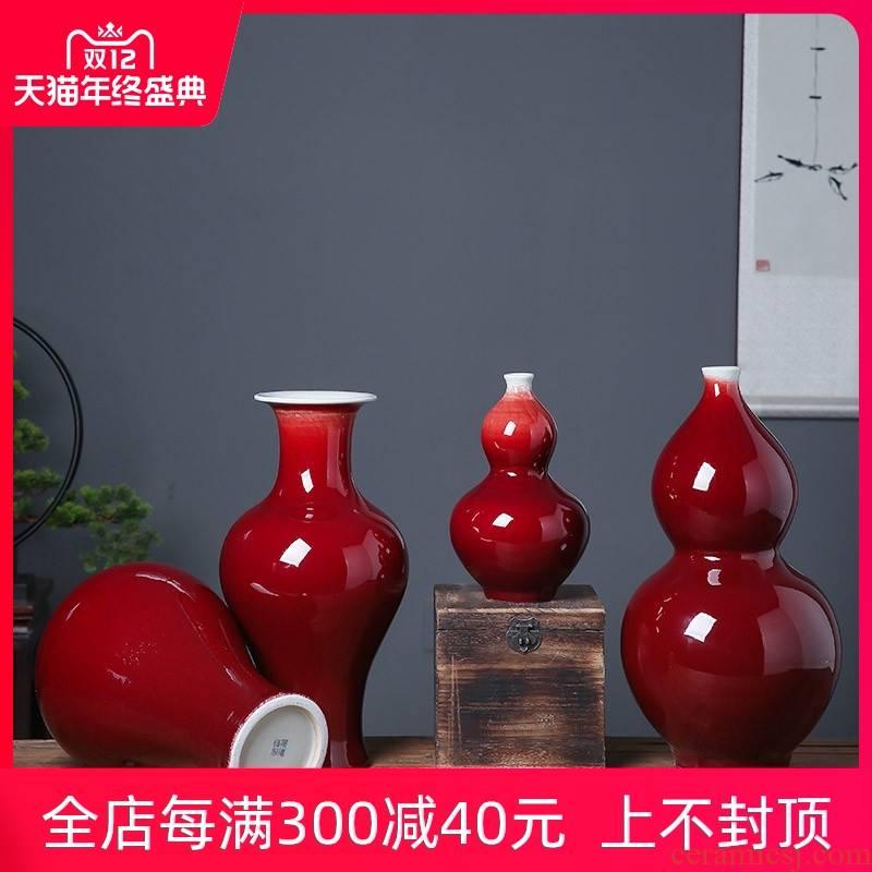 Ruby red Chinese jingdezhen ceramics glaze vase large sitting room flower arranging, furnishing articles decorated hotel opening gifts