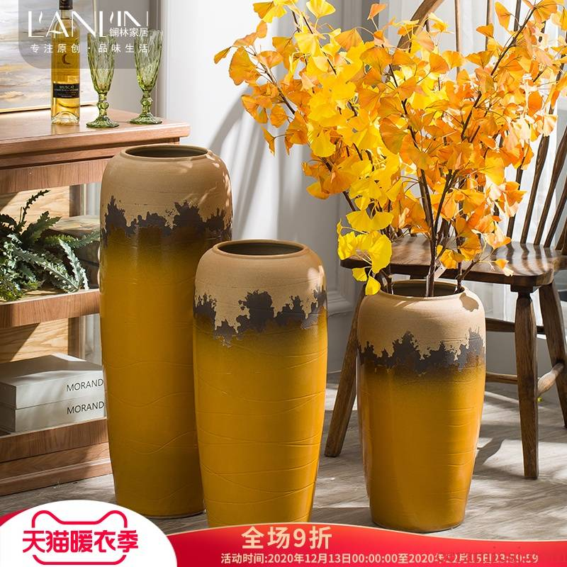 Ground vase large creative furnishing articles American yellow flower arranging dried flower flower implement hydroponic pot sitting room hotel flowerpot
