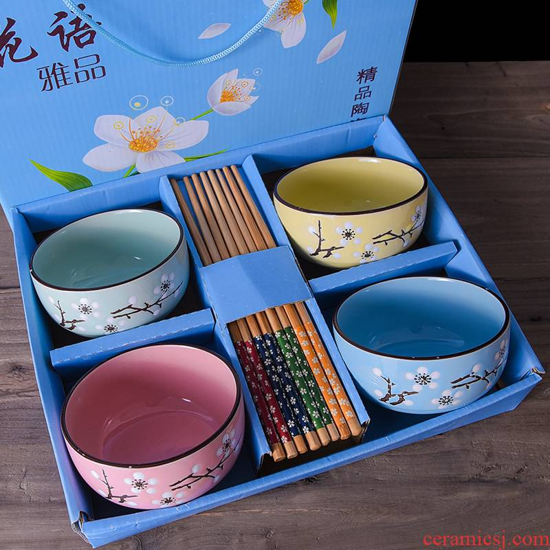 Japanese chopsticks sets of blue and white porcelain bowls bowl of household ceramic bowl gift dishes outfit wholesale gift boxes of tableware