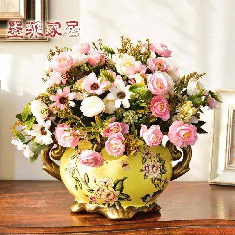 American vase dried flower flower arranging European ceramic household Angle of what decorative furnishing articles, the sitting room porch table flower decoration