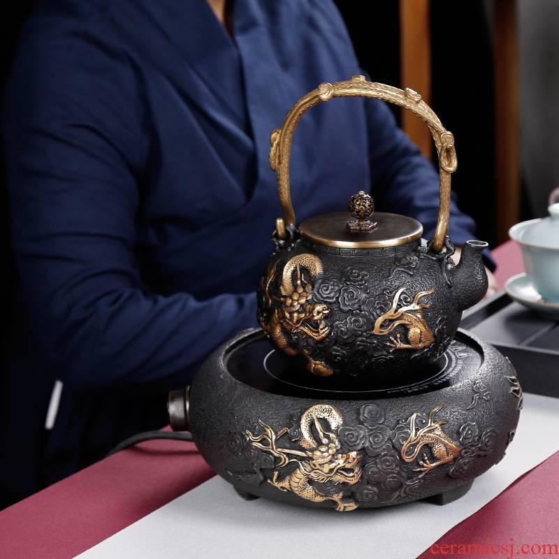 Iron pot of cast Iron tea suit pure manual electric TaoLu boiled the teapot tea stove small.mute kettle home in Japan