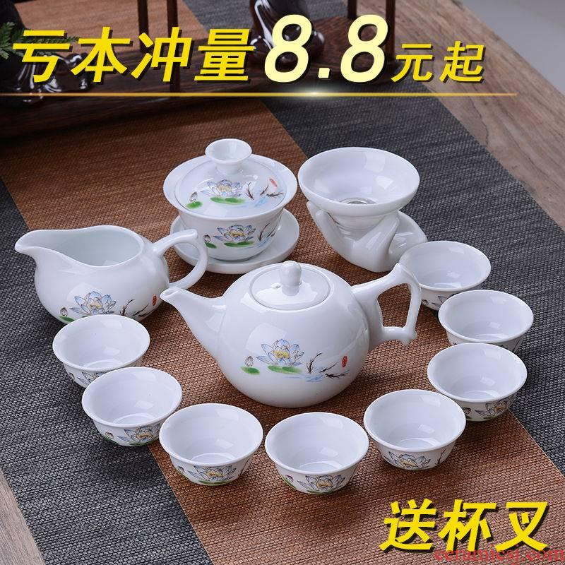 Hui shi blue and white ceramic tea set household send ChaGa 】 【 tureen tea ware kungfu simplicity of a complete set of tea cups