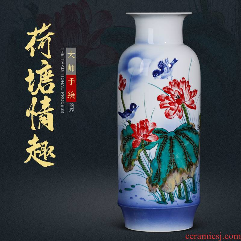 Jingdezhen ceramics by hand draw flower vase is placed large Chinese style living room home TV ark, adornment