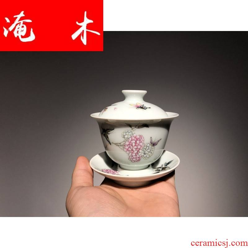 Flooded jingdezhen wood powder enamel handpainted hydrangea tureen lid cup cup teapot ceramic tea set