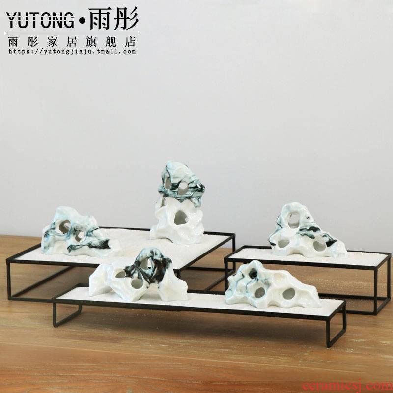 Jingdezhen ceramic checking rockery bijia simulation furnishing articles porcelain bijia mountain scenery shape paperweight crafts