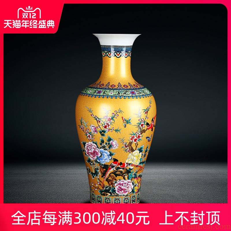 Jingdezhen ceramics of large vase furnishing articles golden phoenix peony flower arrangement home sitting room adornment is placed