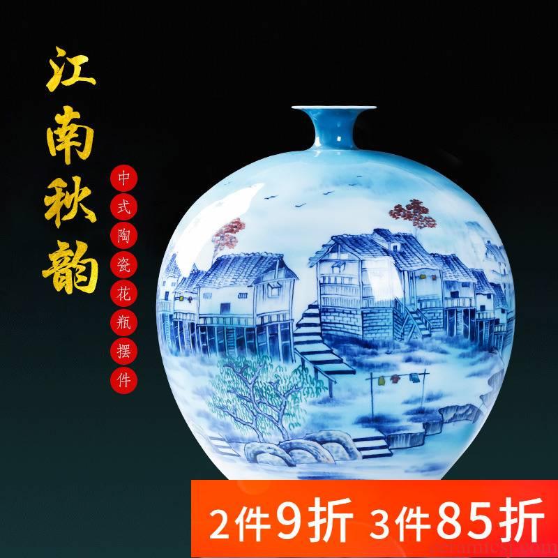 Jingdezhen porcelain furnishing articles ceramic hand - made Chinese blue and white porcelain vase household living room TV cabinet flower decorations