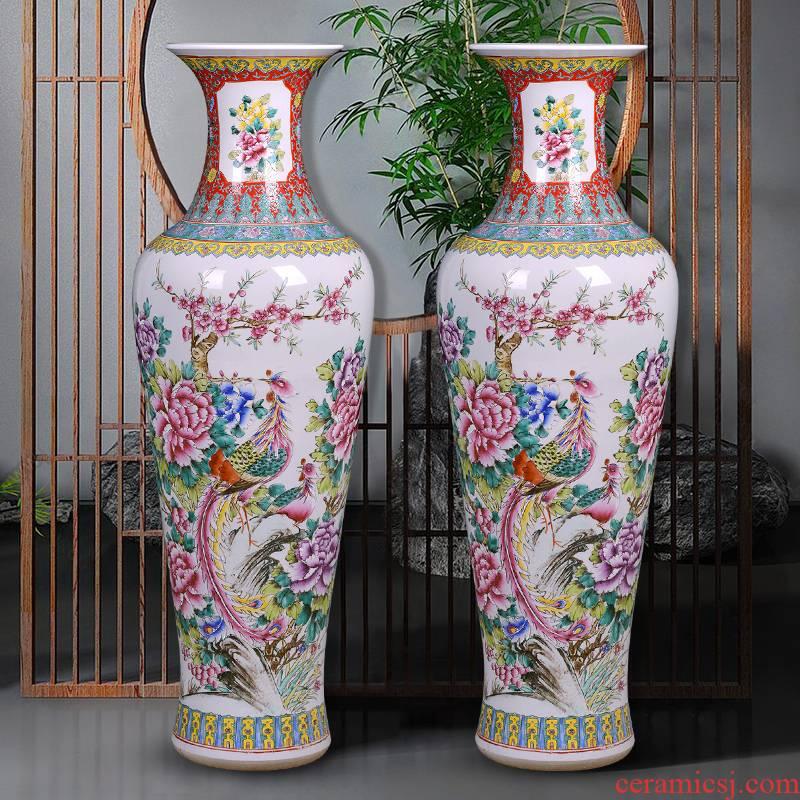 Jingdezhen ceramics vase hand - made pastel auspicious feng instrument landing large decorate the sitting room the hotel furnishing articles