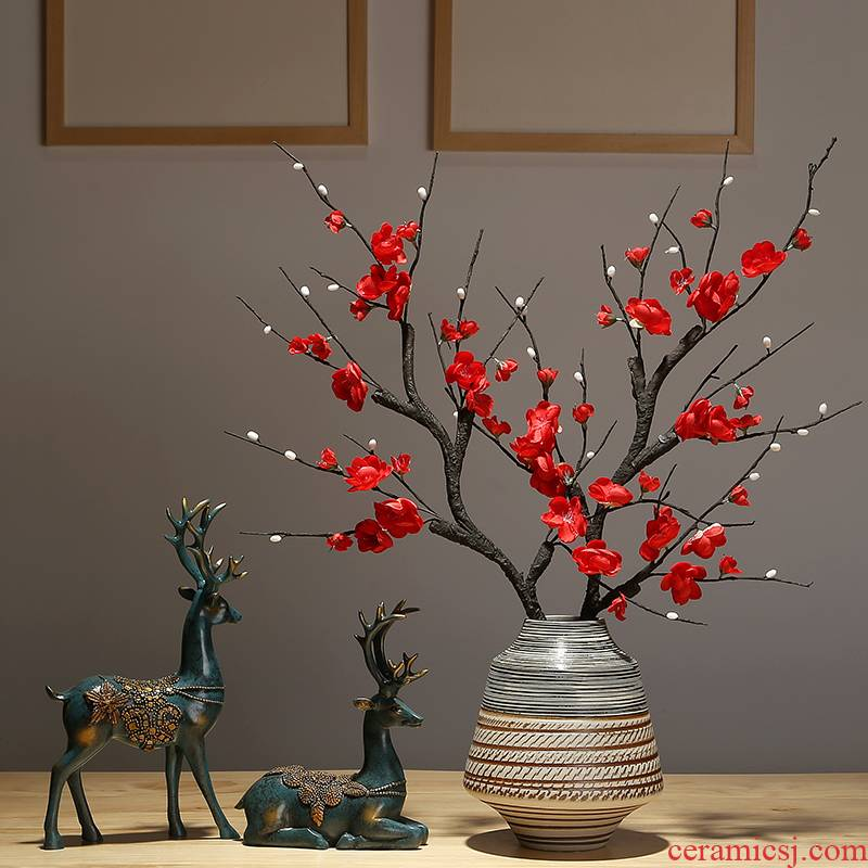 New Chinese style of jingdezhen ceramics vase dried flowers flower arrangement sitting room porch tea table table home furnishing articles