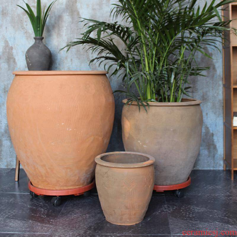 Take bigger sizes flower POTS of large diameter cylinder pottery flowerpot super special offer big ceramic cylinder barrel restoring ancient ways of the food bowl
