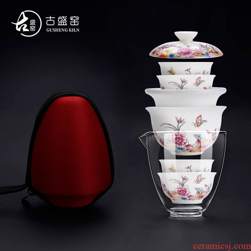 Ancient sheng up enamel see colour portable travel with bag filter Japanese blue and white porcelain tea set dry mercifully a pot of four cups