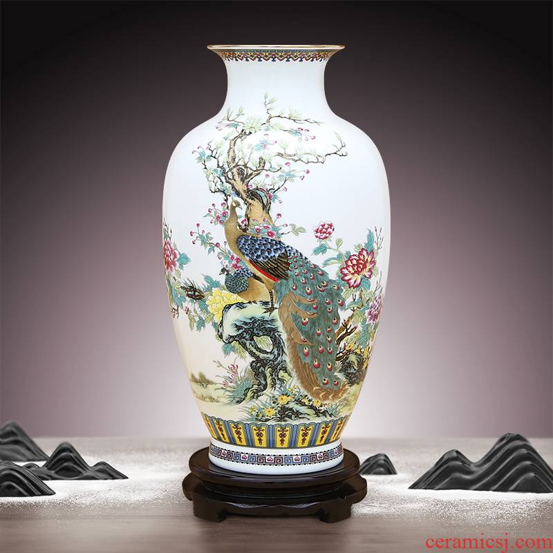 To high white porcelain industry of jingdezhen high see colour expressions using office furnishing articles appearing in the spring of famille rose porcelain vase fang figure