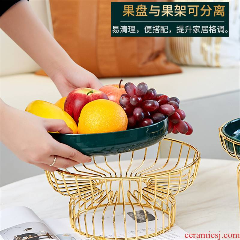 Compote creative modern Nordic light sitting room key-2 luxury wind Compote home furnishing articles green glaze high - grade ceramic fruit bowl tea table