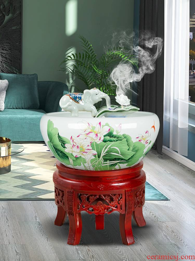 New Chinese style ceramic creative opening gifts gifts version into the office sitting room adornment water fountain furnishing articles