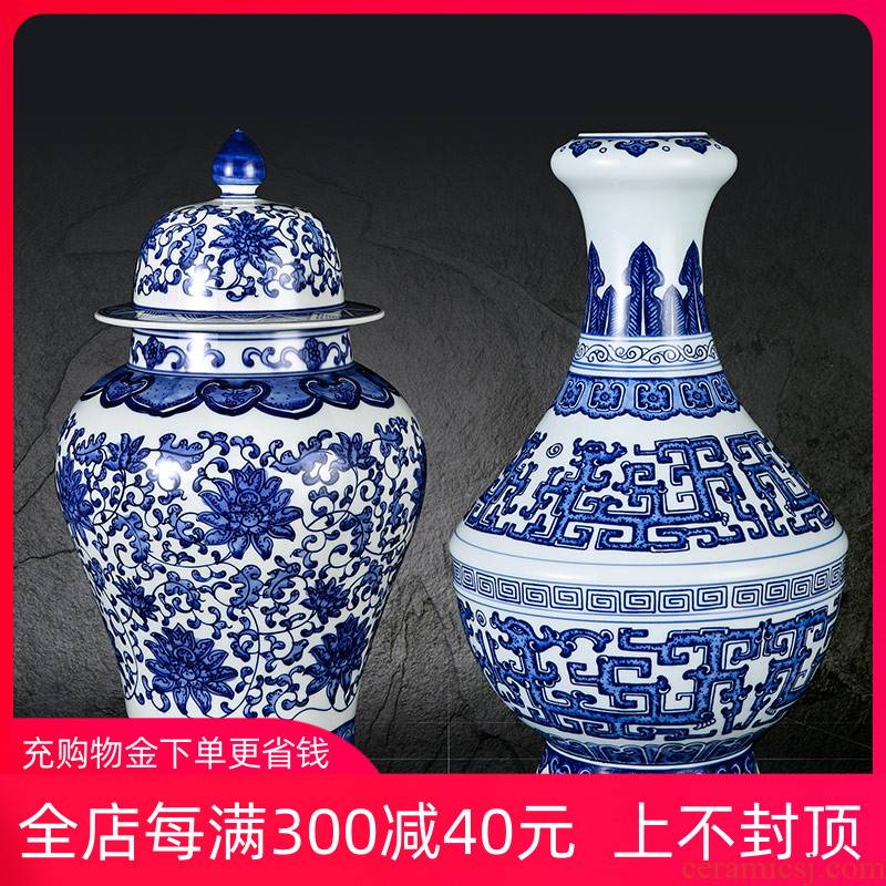 Jingdezhen ceramics hand antique decoration of Chinese style of blue and white porcelain vase is a sitting room place the general pot of lotus flower