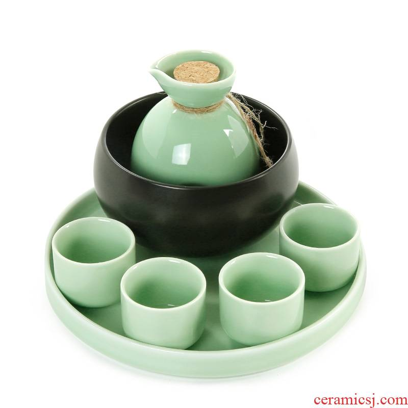 Qiao mu ceramic wine suits for celadon temperature wine pot hot hip Japanese Chinese style household glass white yellow glass temperature