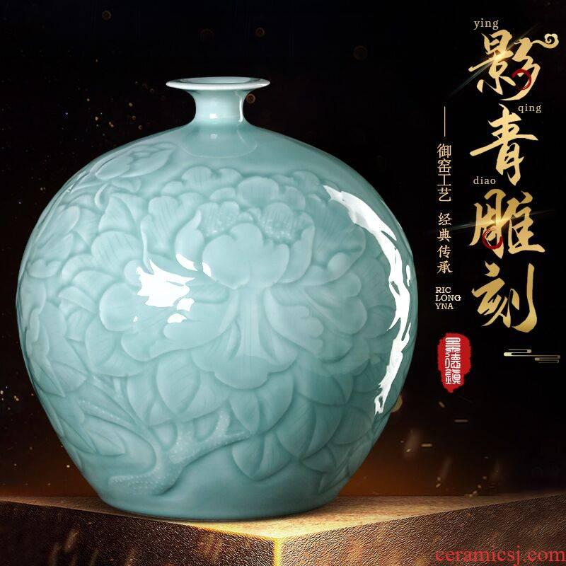 Jingdezhen ceramics vase furnishing articles manually blue glaze pomegranate bottle of new Chinese style household adornment TV ark, sitting room