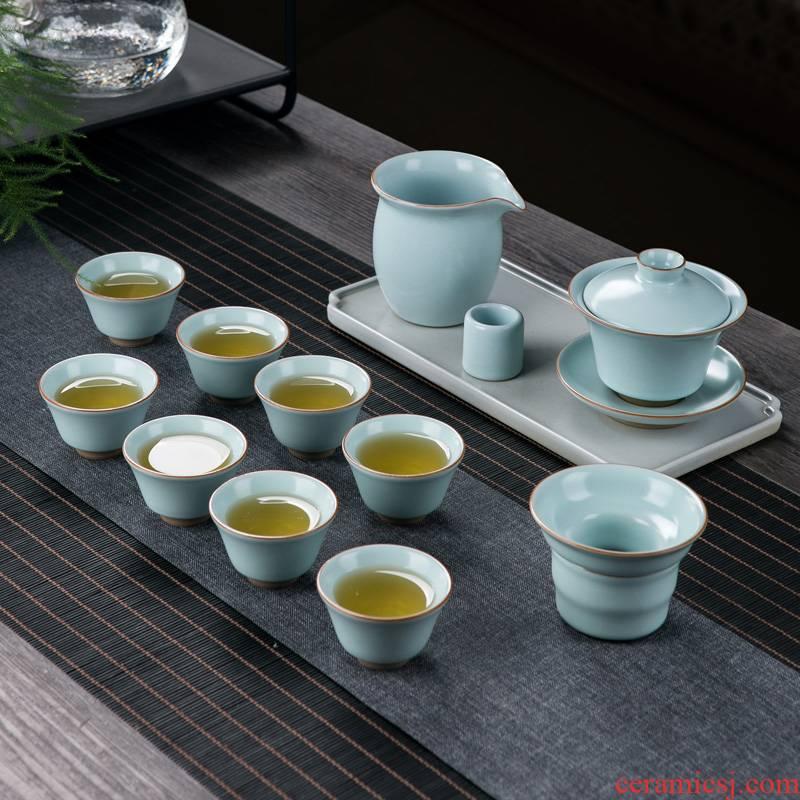 Your up the was suit household contracted sitting room jingdezhen porcelain ice cracked tureen kung fu tea cups
