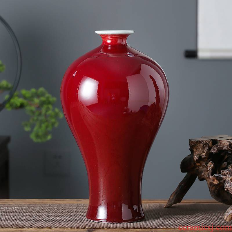 Jingdezhen ceramics, vases, flower arranging is sitting room place, home decoration opening gifts Chinese style ruby red glaze bottle