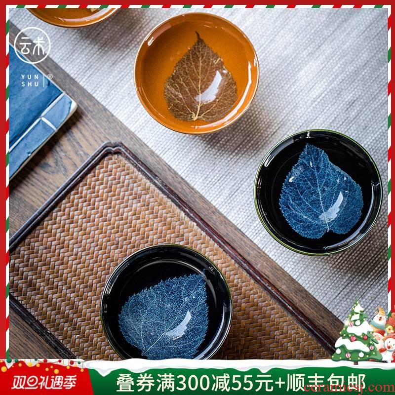 Cloud art of jingdezhen jizhou up konoha temmoku oil - lamp can individual building ceramic cups of tea light cup single cup tea service master