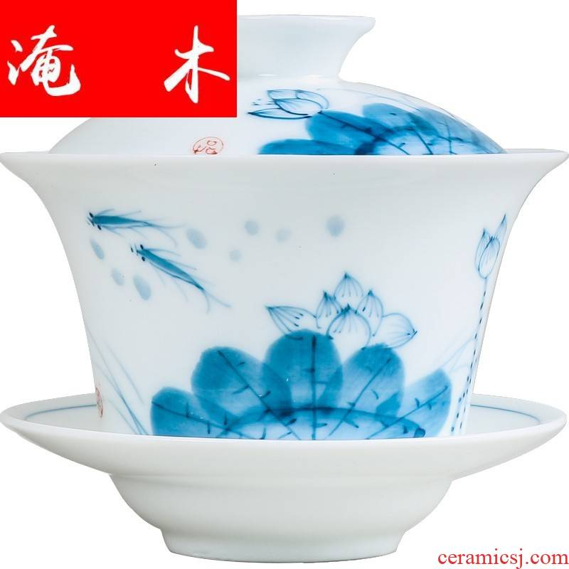 Submerged wood working quality goods porcelain Chinese style restoring ancient ways hand - made ceramic tureen large Japanese tea tea cups, lotus wounds