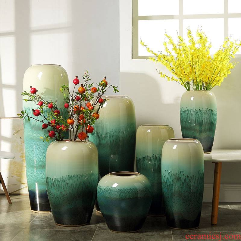 Nordic landing big vase furnishing articles European I and contracted hotel ceramic emerald green stores sitting room adornment flower arrangement