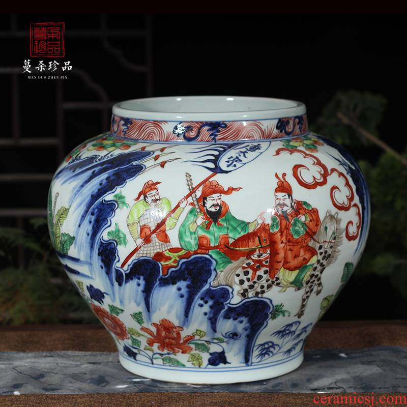 Jingdezhen hand - made porcelain jar of colorful characters hand - made taizong porcelain pot imitation yuanta colorful characters