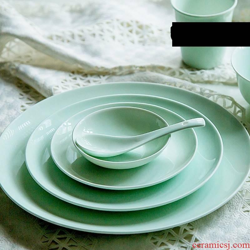 The Poly real celadon western - style food scene circle deep dish dish dish dish household utensils breakfast dish bowl dish dish of fish smell