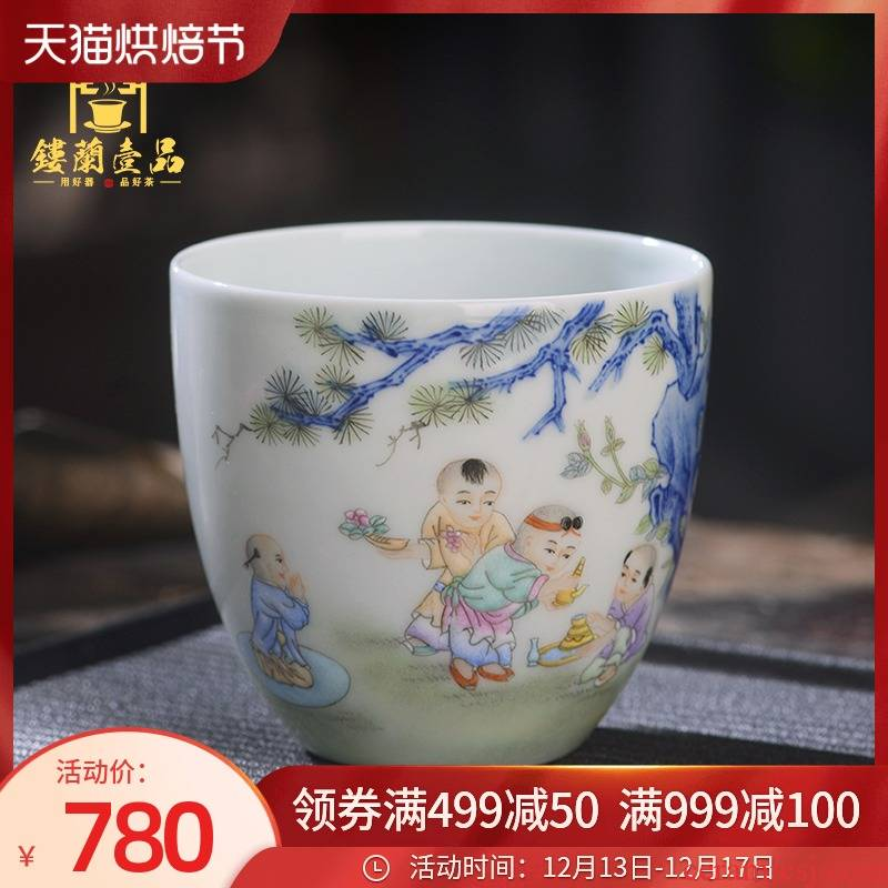 Jingdezhen ceramic all hand - made alum red figure baby play master cup large personal single CPU kunfu tea cups