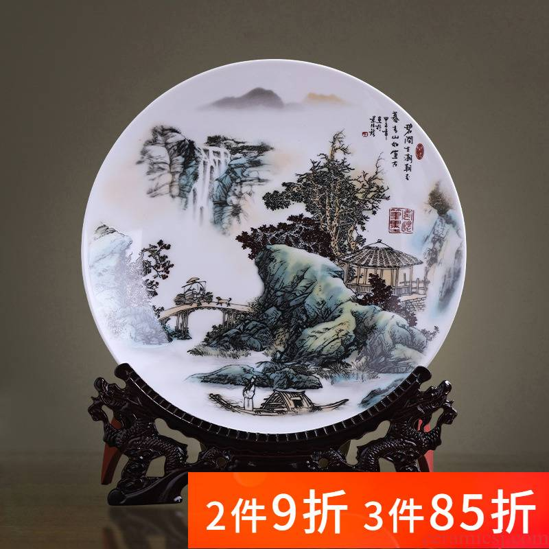 Jingdezhen porcelain ceramic decoration plate sit plate is placed large sitting room of the new Chinese style household adornment 41 cm plate
