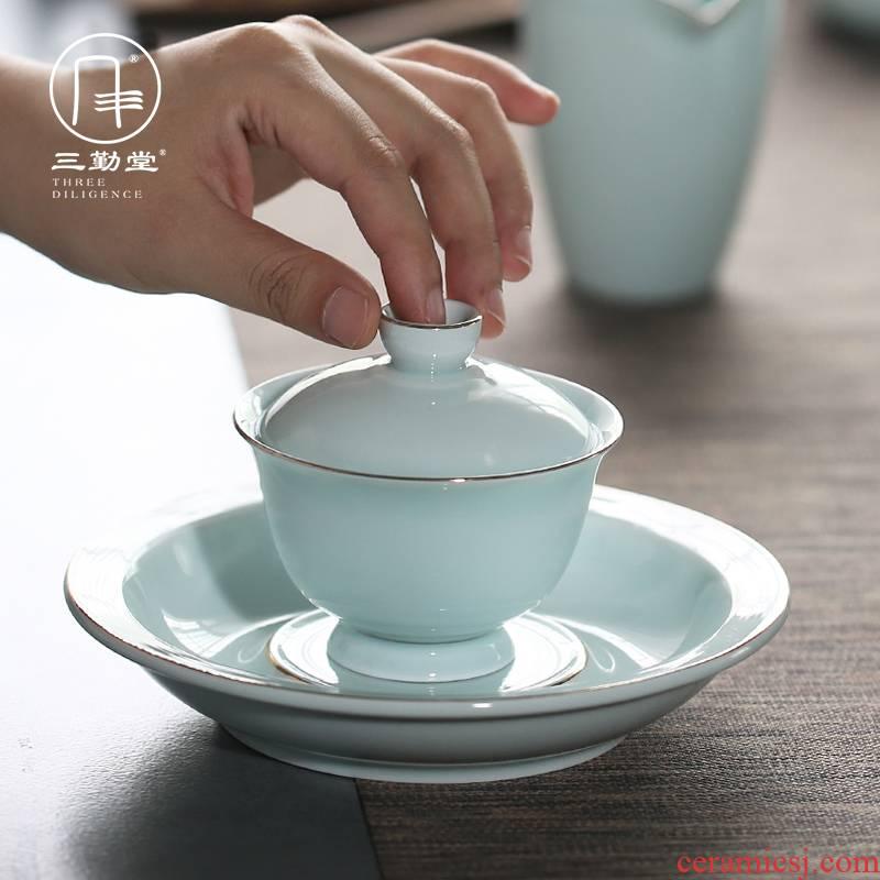 The three frequently shadow green sweet white glaze tureen jingdezhen kung fu tea set three cups to bowl of tea ware bowl S11016