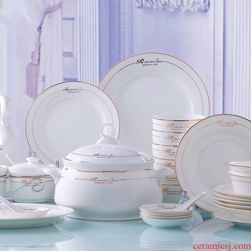 Jingdezhen ceramics high - grade ceramic tableware European dishes suit household microwave oven plate combination of eating the food bowl