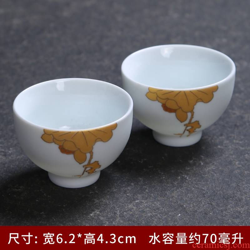 Small cup suit household ceramic cup kung fu tea cups single cup sample tea cup inferior smooth white porcelain zen Small glass bowl