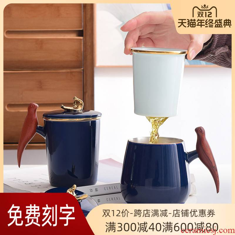 Chinese couples office cup cup to the model of a ceramic cup silver cup with handle tea cup with cover