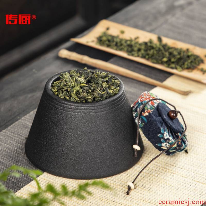 The kitchen caddy fixings ceramic dense hexagrams can of portable small office quality high - grade household puer tea large set