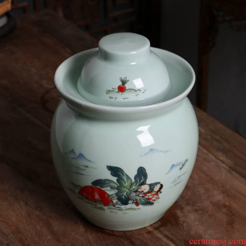 Ceramic household Ceramic seal pickle jar jar sichuan pickle jar of double thickening sauerkraut pickle jar jar lid
