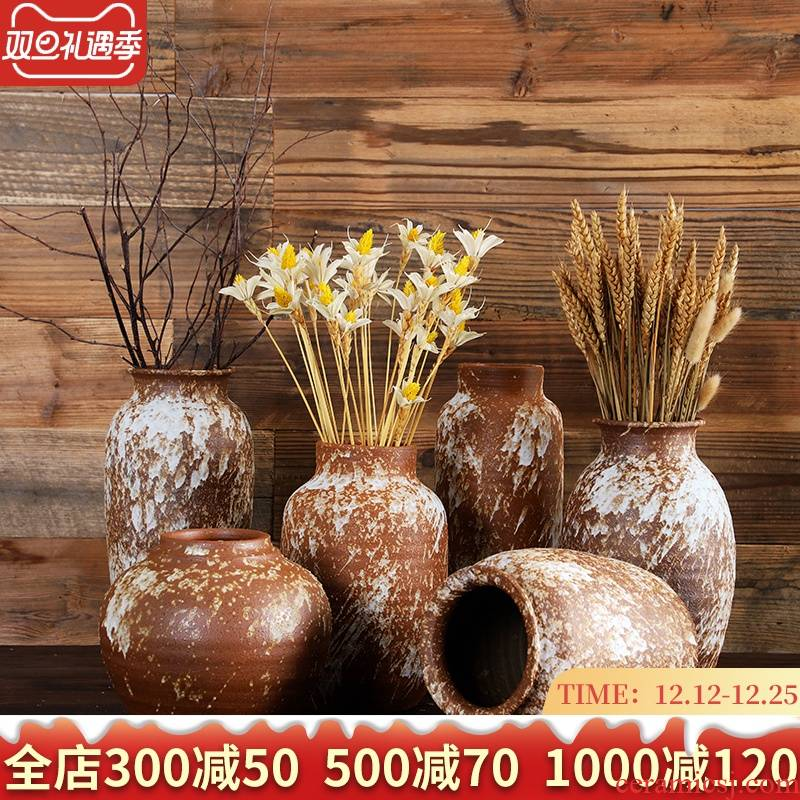 Manual coarse pottery vase Japanese flower implement small ceramic zen flower implement landing place to live in the the original flow retro flower receptacle