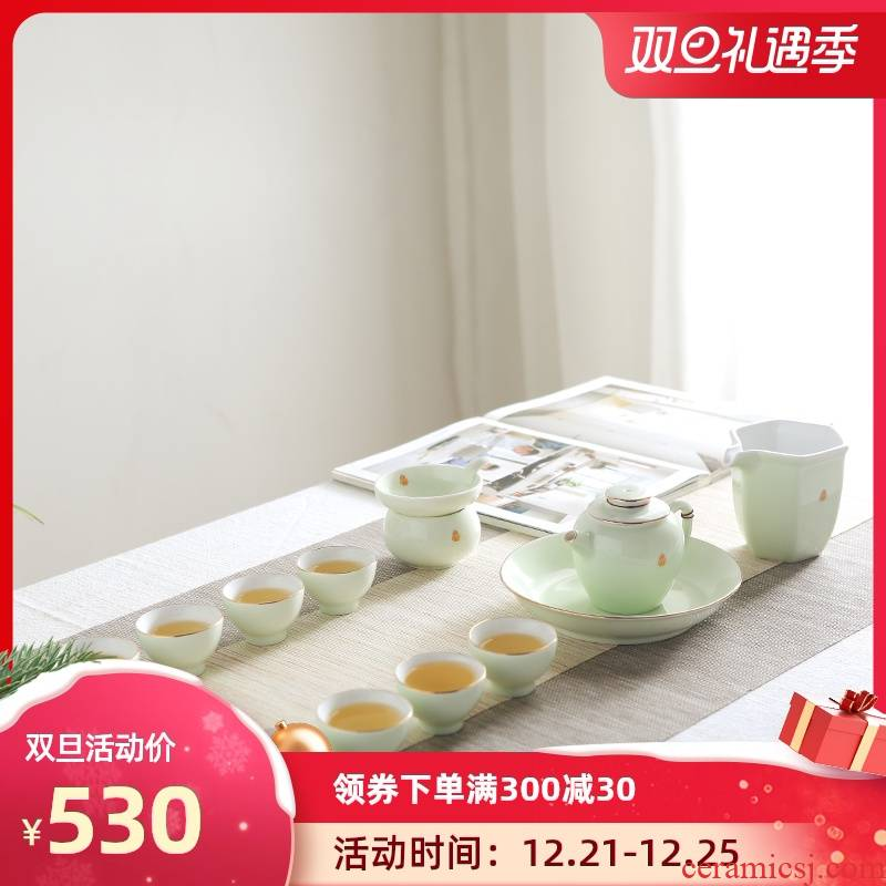Jingdezhen celadon tea set suit I and contracted household fuels the kung fu tea cup small glass ceramic teapot
