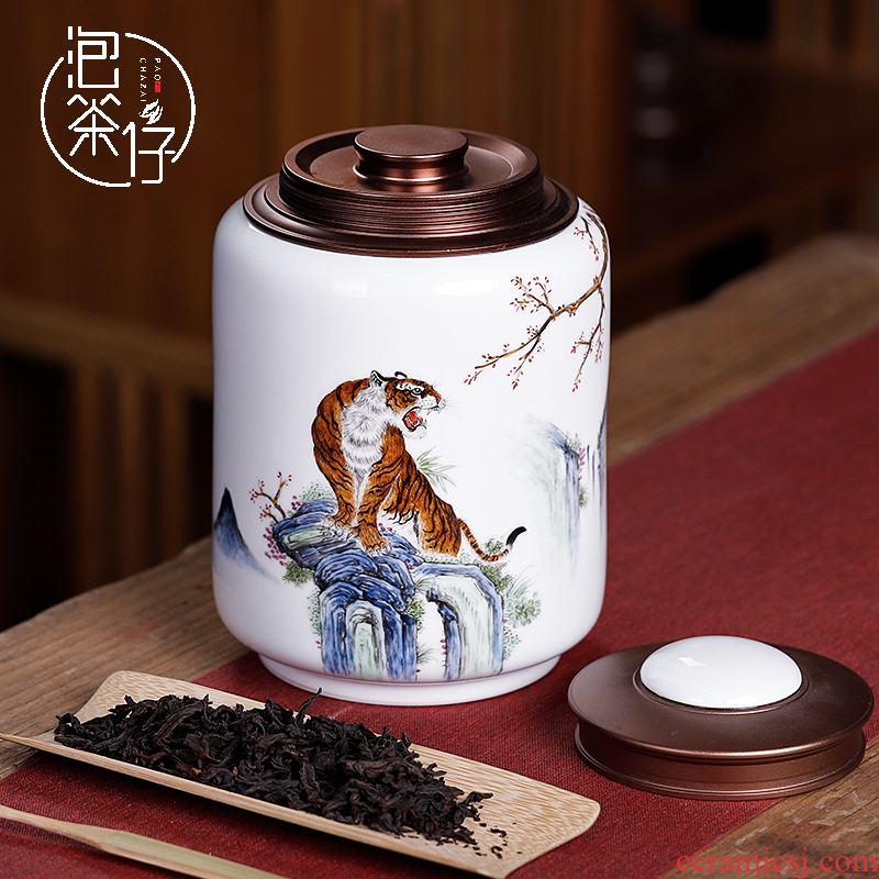 Jingdezhen Chinese hand - made tiger pu 'er tea pot ceramic seal home half jins of large storage POTS