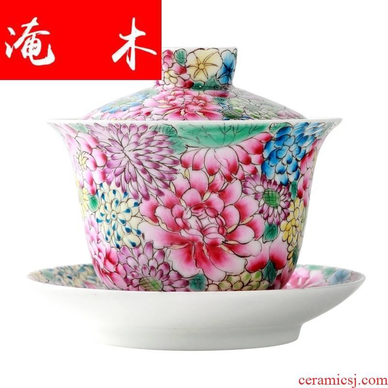 Submerged wood jingdezhen enamel enamel than hand - made kung fu tea set tea bowl three tureen tea cups