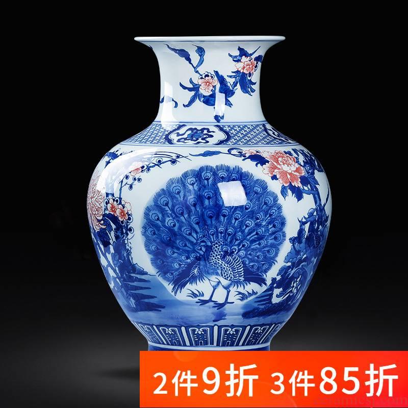 Jingdezhen porcelain ceramic antique large blue and white porcelain vase sitting room floor furnishing articles TV ark, home decoration