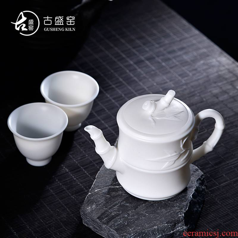2 new DE gu sheng up suit white porcelain ceramic kung fu tea set built manually element to burn a pot of two cups of the teapot