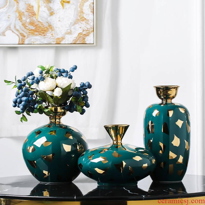 Nordic light ceramic vase creative key-2 luxury living room table dry flower arranging flowers adorn article place porch home decoration decoration